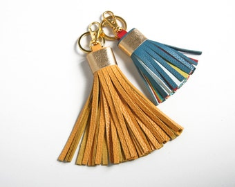 Leather Tassel Key Chain Purse Bag Charm Fringe Key Chain Gift for Her Tassel Key Ring