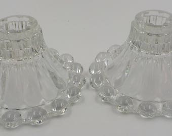 Vintage - Set of 2 - Boopie - Tapered Candle Holders - Glass - Bubble Edges