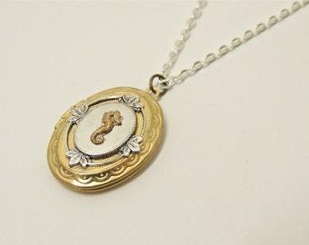 seahorse locket // brass seahorse necklace