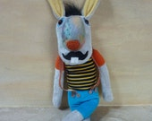 Funny  bunny with moustache , stuffed plush toy, hare, Easter bunny