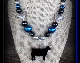 """Black Glass Show Heifer, Cattle Pendant With Gemstone Beaded Necklace Approx 18"""""""
