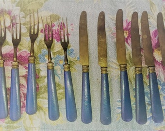 Antique Set of Gold Toned Flatware  free shipping