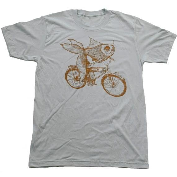 UNISEX Goldfish on a bicycle t shirt - Mens  Silver Tshirt- Dark Cycle Clothing