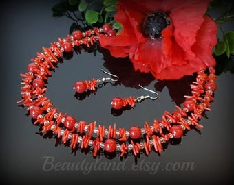 Red Coral Necklace Statement Necklace Boho Necklace Bohemian Necklace Red Necklace Chunky Necklace Red Wedding Christmas Gift Coral Jewelry