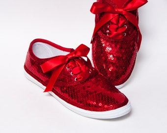Sequin - CVO Princess Pumps Red Canvas Sneaker Sparkly Tennis Shoes with Ribbon Laces