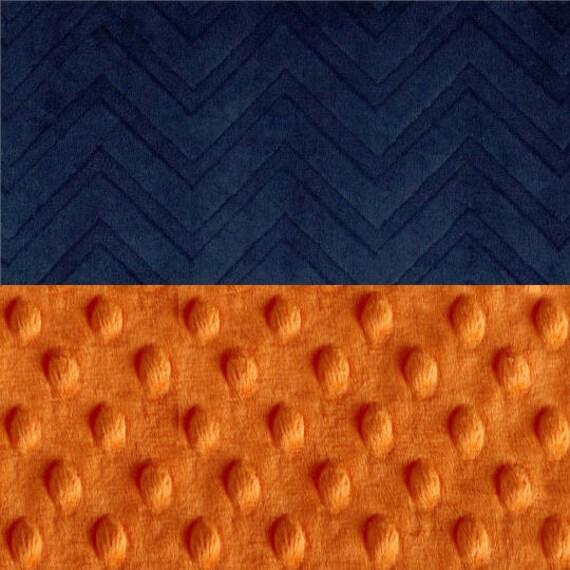 48 x 60 Toddler Blanket / Navy Chevron Minky Baby Blanket Personalized Blue Orange Toddler Size / Blue Throw Blanket / Blue Baby Blanket