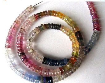 35% OFF Natural Multi Bi- Color Sapphire heishi rondelle