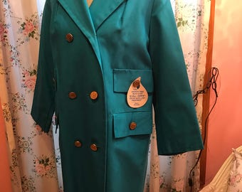 Vintage Herman Kay teal trench coat