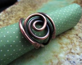 Antiqued Copper Ring, size 10 1/2, thumb ring, antiqued copper jewelry, ring for large finger,