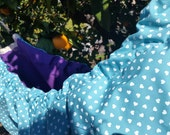 Baby hammock - A crib  for babies and Swinging seat for kids. Light Blue with little polkadot hearts and Purple Classic Zaza Hammock