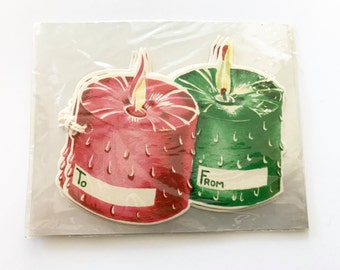 Vintage CHRISTMAS Gift TAGS Tie String Tags Red Green Candles NOS New Old Stock Package of 5
