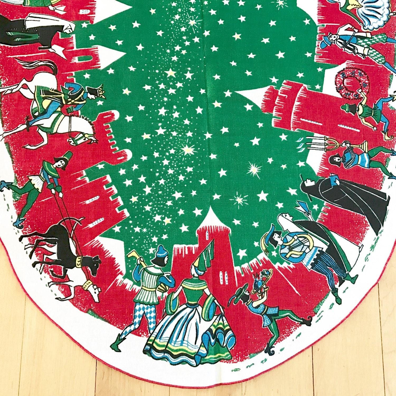 Vintage Table Runner Christmas Linen Textile Mid Century