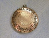 Antique Edwardian Locket With Etched Flowers, Gold Filled Locket, Old Antique Locket (#2600)