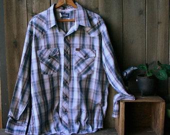 Vintage Wrangler Shirt Plaid Mens Western XL Blue Red White Vintage From Nowvintage on Etsy