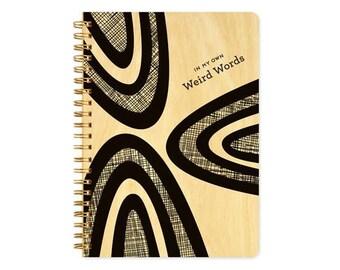 Weird Words Journal - Birch Wood Journal - Real Wood Notebook - Writer's Journal - Black & White - J1813