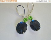 5 Day 20 off SALE Vintage Style Navy Peridot Green Faceted Crystal Silver Earrings