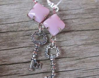 Sterling Silver Key Pink Stone Dangle Earrings, Valentines Day Gift
