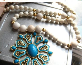 5day Mothers Day 20% SALE The Souk . White Gold Long Vintage Pendant Turquoise Beaded Necklace