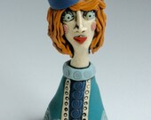 FEMALE SCULPTURE, Clay Sculpture, Clay Sculpted Figure, Clay Figurine, Clay People, Clay Sculpture, Blue and Teal, Red Head, Handmade woman