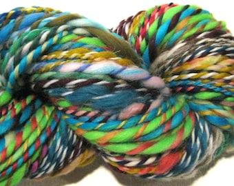 Handspun Yarn Waste Not Want Not J 125 yards rainbow yarn knitting supplies crochet supplies waldorf doll hair