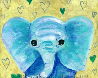 Elephant Painting, Elephant Print, Baby Nursery Decor, Blue Green Gold Art, 8x8 Print, Baby Elephant, African Animal, Jungle Animal, Child's