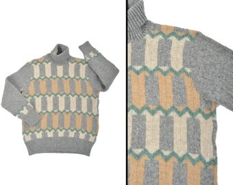Mens 80s geometric sweater / gray wool turtleneck sweater / 1980s sweater Made in France
