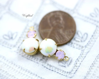 Creamy Pearl & Rose Water Opal 15x9mm Vintage Glass Round Stones in 1 Ring 2 Stones Brass Prong Settings - 2