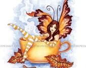 5x7 Autumn Comfort coffee tea fairy PRINT by Amy Brown