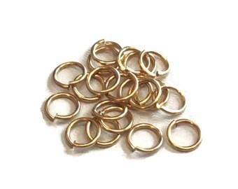 20 pieces 7.25mm Smooth 16 gauge Jump Rings, Polished Brass, Vintaj Vogue JRV45