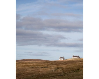 Minimal Shetland Fine Art Photography Scotland Landscape simple clean rolling hills big sky dramatic home decor blue sky brown hills art