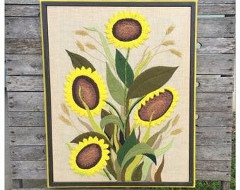 Sunflower Art - Sunflowers - Crewel Embroidery - Crewel Art - Sunflower Crewel - Vintage Crewel - Sunflower Embroidery - Vintage Sunflower