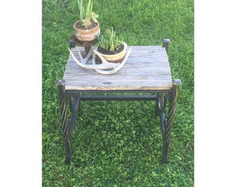 Rustic Side Table - Rustic End Table - Reclaimed Wood Table - Iron Table - Rustic Nightstand - Rustic Furniture - Farmhouse Table - Table