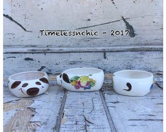 Vintage Pig Bowls - Pottery Bowls - Ironstone - Pig Bowls - Pig - Pigs - Smiling Pigs - Succulent Planter - Set of Bowls - Pig Decor -