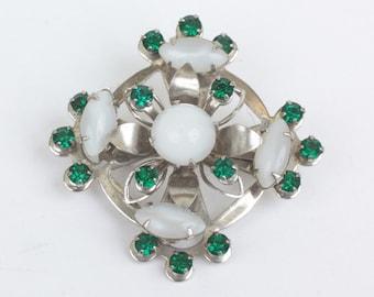 Vintage Celtic Design Pin Glass Moonstones Green Stones