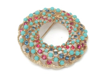 Circle Pin Turquoise Bead Red Blue Rhinestone Swirl Brooch Vintage