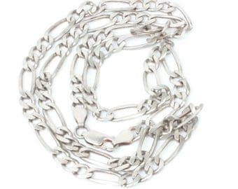 Sterling Silver Italian Figaro Chain Necklace 24 Inches Unisex