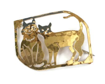 Gold Plated Cats Brooch Pin Hammered Finish Wild Bryde Vintage