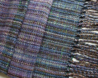 """Handwoven Hand-dyed Wrap/Shawl with Twisted Fringe,  Deep Woods - 79""""x15.5"""""""
