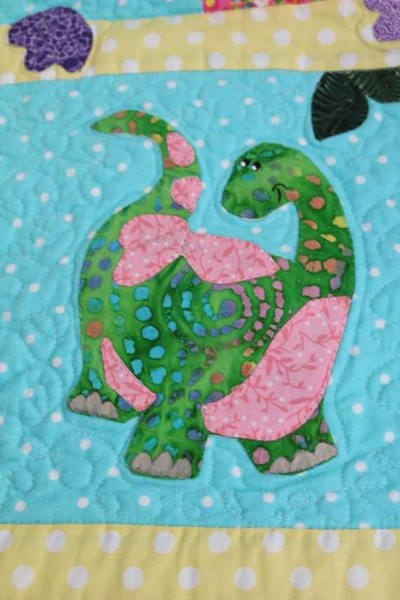 Super cute dinosaurs baby quilt pink and girly soft for Girly dinosaur fabric