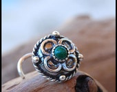 Medieval in Malachite Celtic Shield Sterling Silver Nose Stud / Sterling Silver Large Bold Jewelry - CUSTOMIZE