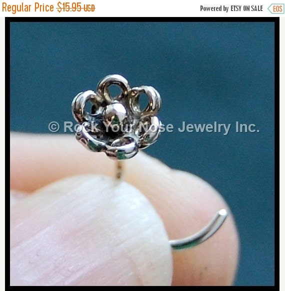 Holiday Sale Flower Nose Stud - In My Garden - Sterling Silver - CUSTOMIZE