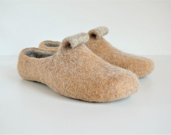 Felted slippers - wool slippers - house shoes -felt slippers - handmade wool slippers - women men slippers - camel brown Valentines day gift