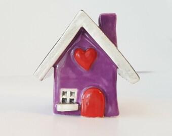 Little Clay House   Purple House   Ceramic House   Whimsical House   Fairy House   Miniature House   Tiny House   Terrarium Decoration