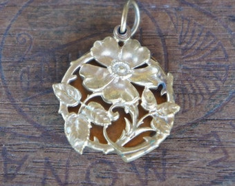 Antique French Gold Plated Flower Picture Mirror Locket