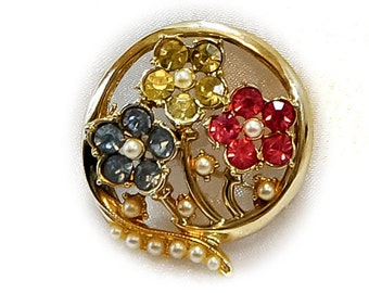 1950s Coro Inspired Round Gold Tone Multicolored Rhinestone and Faux Pearl Flower Pin