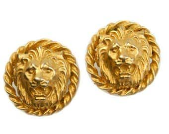 1980s 1990s Brushed Gold Plated Lion Head Vintage Clip On Earrings