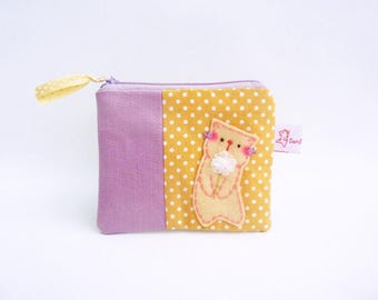 Cat coin purse linen pouch green leaf purse wallet cat lover gift for her zipper wallet for women small change purse