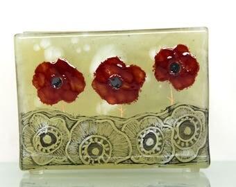 Fused Glass napkin holder , red Poppie fused glass sgrafito napkinholder  glass art