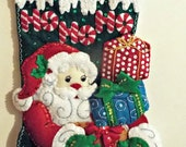 "Handmade Completed/Finished Bucilla Ho Ho Ho Santa 18"" Christmas felt stocking 86171 with free personalization"