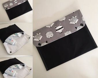 Nappy Wallet/Clutch - Grey with Foxes Modern Design Nappy Wallet